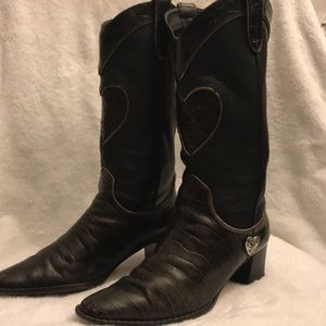Brighton Toby Black and Brown Croc Boots